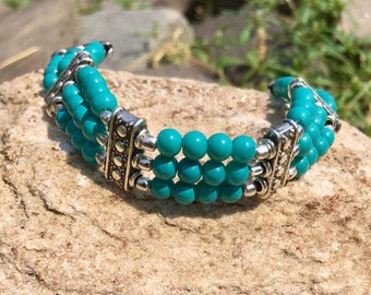 Beaded Turquoise Bracelet - Adjustable