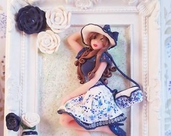 Wonderful Jessica en pâte polymère - sculpture fait main - cadre photo personnalisé en fimo.