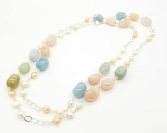 """40"""" Morganite and Cultured fresh water pearl necklace"""