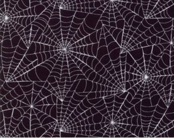 Halloween fabric by the yard- Moda- Eerily Elegant- Deb Strain-19813 11 midnight black- white spiderwebs on a black background- spiderwebs