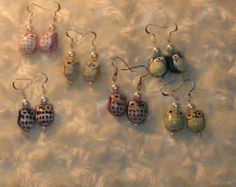 Ceramic Owl Drop Earrings