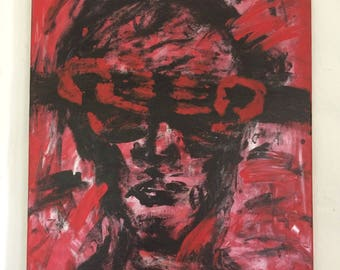 Abstract Acrylic Painting - Red, Black & Silver - Original Painting