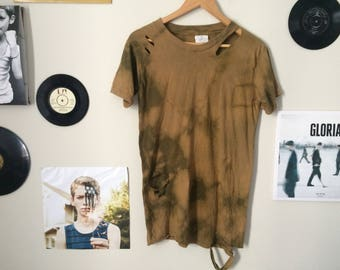 Distressed tie dyed shirt - one of  a kind