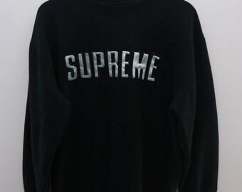 Vintage Supreme Sweatshirt Big logo Street Wear Skate Board Round Neck Pull Over Sweater Size XL