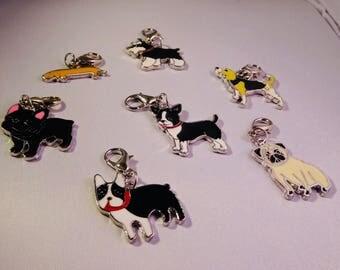 CUTE DOG CHARMS! French Bulldog, Pug, Beagle, Schnauzer, Dachshund, Chihuahua & Boston Terrier <3 Ready to clip anywhere!