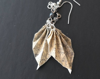 Origami Leaf Earrings -Origami Jewelry-Origami Earrings-Paper Jewelry-Dangle& Drop earrings-Origami Jewellery-Anniversary-Valentine's Day