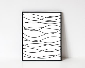Line Art, Abstract Line Art, Abstract Art, Modern Wall Art, Waves, Abstract Printable, Printable Art, Minimalist Art, INSTANT DOWNLOAD