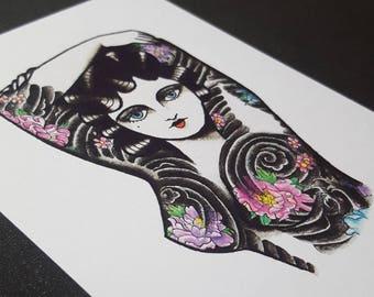 A6 Postcard - Japanese Tattooed Babe