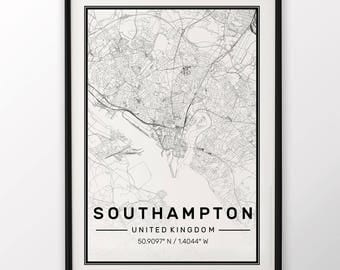 Southampton City Map Print Modern Contemporary poster in sizes 50x70 fit for Ikea frame 19.5 x 27.5 All city available London New York Paris