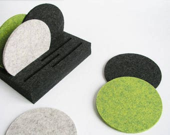 Wool Felt Coasters & Holder, Felt Coasters, Circular Coasters, Modern Coasters, Housewarming Gift