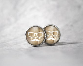Earrings cabochon 10 mm / cat glasses and mustache