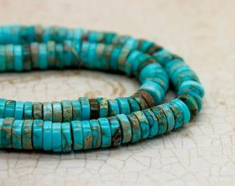 Blue Sky Jasper Rondelle Heishi Gemstone Beads
