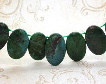 "Green Jasper Natural Flat Oval Smooth Gemstone Beads Loose Bead 22mm x 36mm - 15.5"" Strand"
