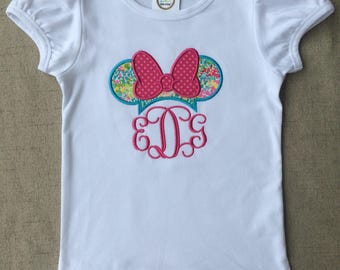 Minnie Mouse Monogram Shirt, colorful Minnie Mouse shirt, Minnie Mouse ruffle shirt