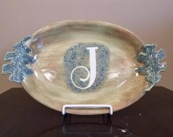 Monogrammed Leaf Platter
