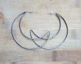 Sterling Silver Moon Hoops