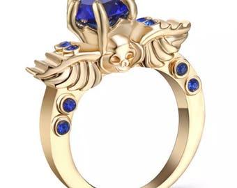 Skull Blue Sapphire  10k Gold Filled Ring Size 7