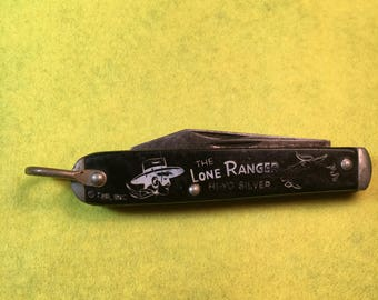 """Hi Yo Silver!!! Lone Ranger Pocket Knife/3"""" /Silver Bullet on side /Knife Signed Camco/ Big Blade Tip is broken  <>#BCEB-507"""