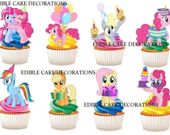 30x My Little Pony Ponies Birthday edible rice fairy paper cupcake cake toppers edible decoration Stand up My Little Pony Birthday Girl