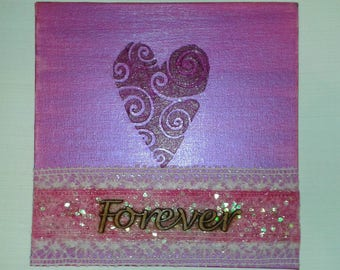 romantic painting, pink heart art, Forever love, heart and lace, anniversary gift, for my wife, valentines gift idea, feminine art, BFF gift