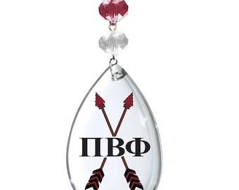 PBP Logo Crystal - Badge - Pi Beta Phi Sorority MAGNETIC ORNAMENT / Pbp Decor/Pbp Ornament/Pi Beta Phi Dorm Room Decor