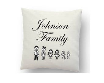 Personalised family cushion cover, printed cushion cover, sublimation ink and a heat press