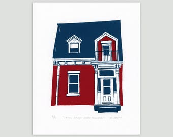 Montreal House in Red/Indigo – Limited Edition Screen Print