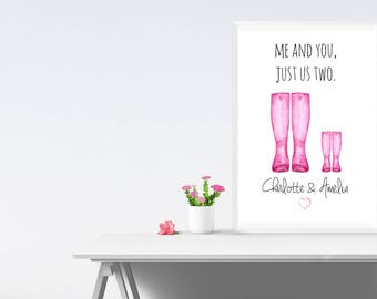 Family Print - Family Wall Art - Family Wellington Boots - Personalised Print - Home Decor - Home Print - Wellington Boot Wall Art