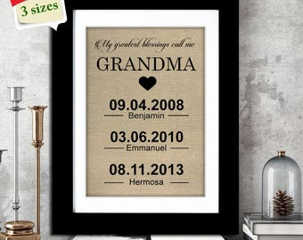 ON SALE! Personalized Mother's Day Gift for Grandmother | Grandma Gift | Mothers Day Burlap Print | Grandchildren Birth Dates Wall Art