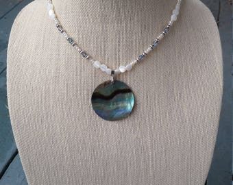 Beaded Necklace with Abalone Pendant