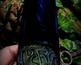 Blue Glass Halloween Decoration Arsenic Poison Bottle Ooak