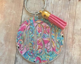 Monogrammed Keychain, Flamingos, Lilly Pulitzer inspired