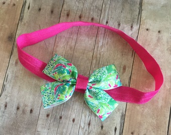 Baby headband, Lilly pulitzer inspired, Baby Bow