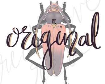 Be Original, wall print, home decor, digital print, beetle, painting, printable, instant download