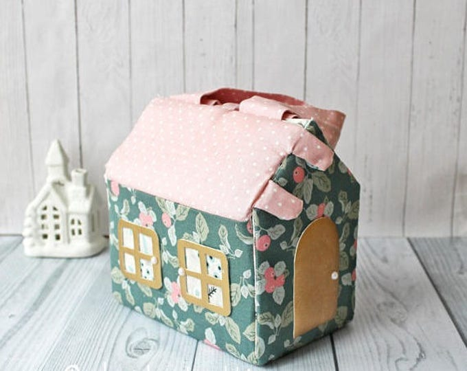 Carry-along fabric Dollhouse Kit Modern dollhouse Doll House Bag Gift For Girl