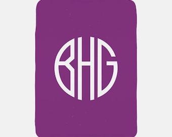 Monogram Blanket, Personalized Blanket, Purple Blanket Monogram, Soft Blanket, Custom Throw, Fleece Blanket, Cozy Blanket, Daycare Blanket