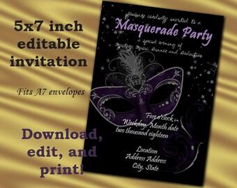 5x7 EDITABLE Masquerade ball party invitation; Black and Purple