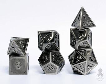 DnD High Quality Metal Gaming Dice    Metal RPG Polyhedral Dice Set   Metal D&D Dice Set   Dwarven Carved Cast Steel (KD0058)