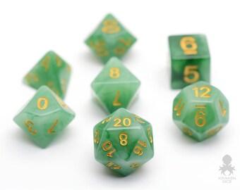 Jade Dice Set, D&D, Dice Set, Dungeons and Dragons RPG Dice, Geek, Geeky, DND, Faux Green Jade RPG Dice - Jade Dice (KD0070)