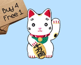 Maneki Neko Patches Lucky Cat Patch Iron On Patch Embroidered Patches