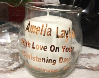 Christening Candle Personalised