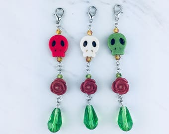 Calavera Rose Drop Charm - Skull Planner Charm - Rose Charm - Sugar Skull TN Charms - Mexican Jewelry - Journal Jewelry - Skull Accessories