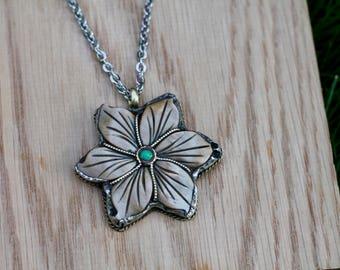 Large Tibetan flower necklace