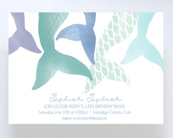 Watercolor Mermaid Tails Invitation // Birthday Party Invite // Baby Shower