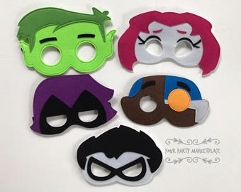 SET OF 5 Teen Titan Go Party Masks,Teen Titan Go Party Favors,Teen Titan Go Birthday,Teen Titan Party Decorations,Teen Titan Go Party