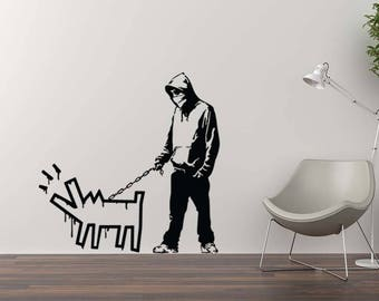 banksy wandtattoo m dchen mit ballon herz wandtattoo banksy. Black Bedroom Furniture Sets. Home Design Ideas