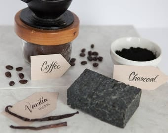 Vanilla Bean, Coffee and Charcoal soap. Super exfoliating. Money-back guarantee.