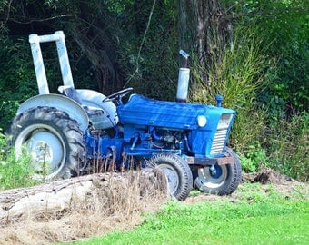 Blue Tractor Canvas or Poster Wall Art for Home or Office decor