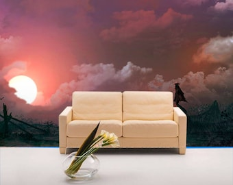 Large wall mural. Fantasy sunset wallpaper. Colorful wall decor for home decoration. Picture of fantastic landscape Large wall art
