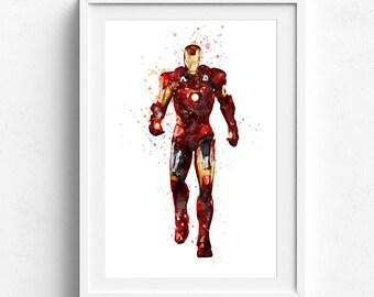 Iron man print, iron man poster, marvel art print, iron man superhero, iron man paint, ironman wall art, superhero print, ironman wall decor